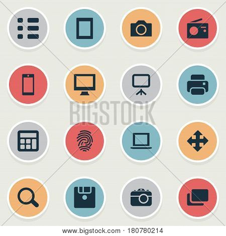 Vector Illustration Set Of Simple Device Icons. Elements Layout, Adding Device, Touch Computer And Other Synonyms Radio, Touch And Move.