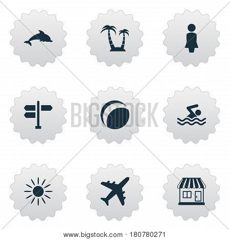 Vector Illustration Set Of Simple Beach Icons. Elements Crossroad, Mammal Fish, Beach Games And Other Synonyms Ball, Travel And Games.