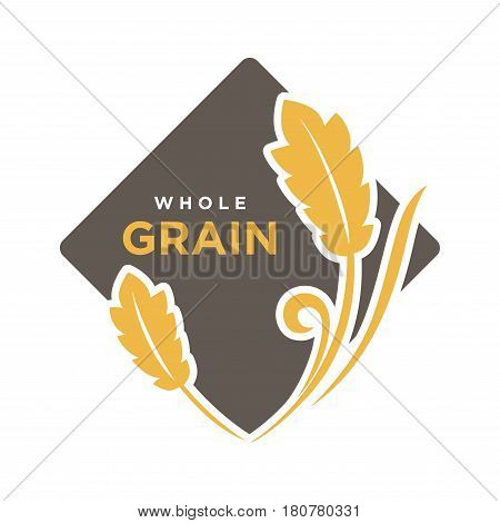 Whole grain organic cereals logo with wheat symbol isolated on white. Fresh yellow grain with text logotype written on black rhombus vector illustration in flat design. Advertisement bread label