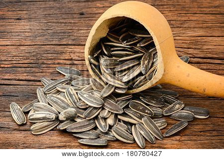 Closeup for sunflower seeds pile calabash dipper and on wooden table