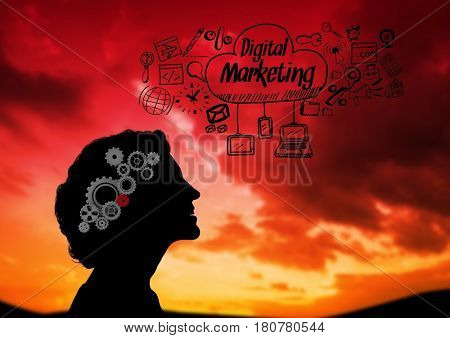 Digital composite of Shadow of woman looking the sky and Digital marketing graphic