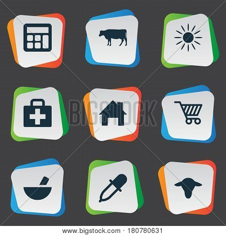 Vector Illustration Set Of Simple Agriculture Icons. Elements Medicament, Calculator, Medical Kit And Other Synonyms Small, Insolation And Local.