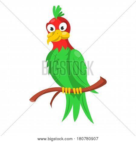 Colorful parrot sitting on thin wood branch isolated on white. Vector illustration in flat design of wild or domestic animal with big beak and eyes in green and red colors with feathers, cartoon bird