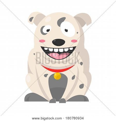 Big smiling Bulldog with grey spots, huge eyes and showing teeth. Vector colorful illustration in flat design of domestic barking animal wearing red neck belt with gold medal, dog purebred