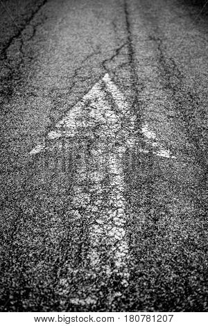 Upward arrow direction on the road in the street