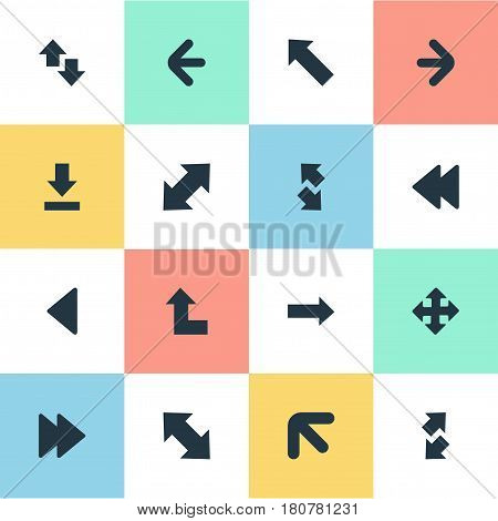 Vector Illustration Set Of Simple Indicator Icons. Elements Advanced, Upwards-Downwards, Rearward And Other Synonyms Ahead, Backward And Download.