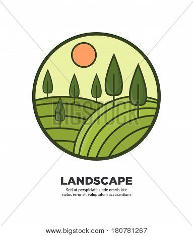 Landscape round logo icon isolated on white with green hilly field and growing tall tree under sun. Vector colorful illustration in flat design of circle with calm rural nature scene and info below