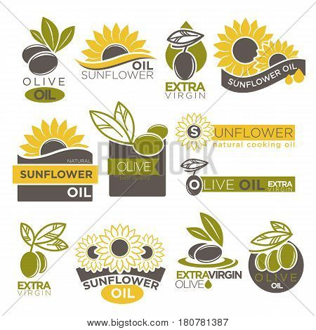 Olive and sunflower oil extra virgin flat logotype on white. Vector illustration of company labels green olives berries with leaves and yellow flowers with black seeds. Healthy condiment template