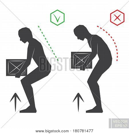Black Man Silhouette Correct Back Position, Vector Lifting Illustration Right Person Posture