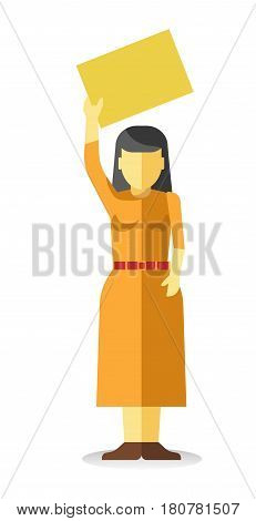 Woman holding empty yellow banner isolated. Vector illustration of female protesting at demonstration in flat style design. Worker demonstrator with billboard, revolution for freedom, lady at picket