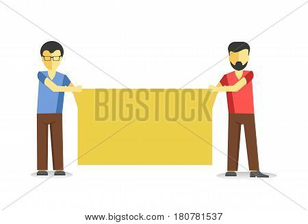 Worker demonstrators at picket with protest poster. Two men holding yellow empty banner isolated on white. Vector illustration of males protesting against law at demonstration in flat style design.