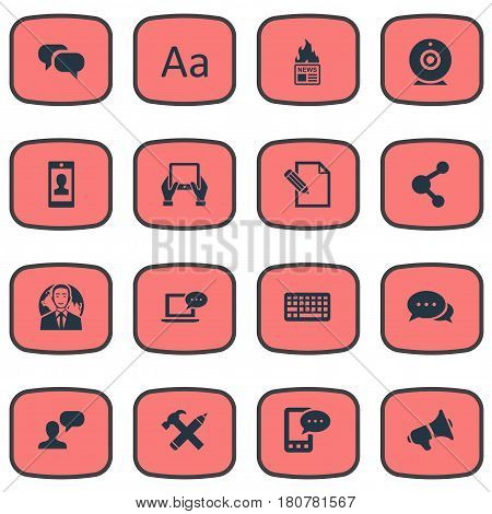 Vector Illustration Set Of Simple User Icons. Elements Gossip, Notepad, Document And Other Synonyms Relation, Man And Writing.