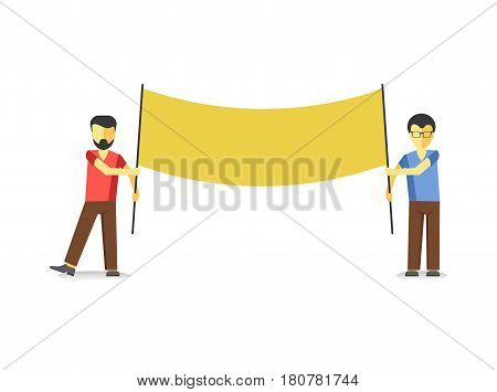 Two men standing with yellow striking empty banner isolated on white. Vector illustration of males protesting against law at demonstration in flat style design. Worker demonstrations with billboard