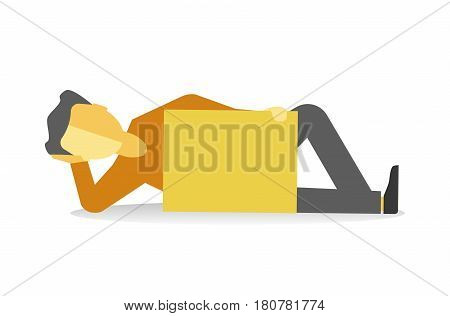 Person lying with empty yellow banner isolated on white. Vector illustration of tired striking male protesting at demonstration in flat style design. Worker demonstrator with billboard lie on earth