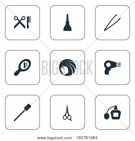 Vector Illustration Set Of Simple Spa Icons. Elements Nail Polish, Pincers, Glass And Other Synonyms Hair, Makeup And Hairdresser.