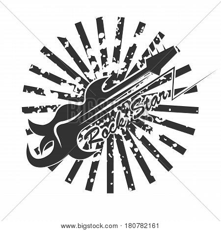 Rock star logo with abstract guitar and black beams isolated on white background. Round shape emblem with musical playing instrument, rock-and-roll-concept vector illustration in flat style design