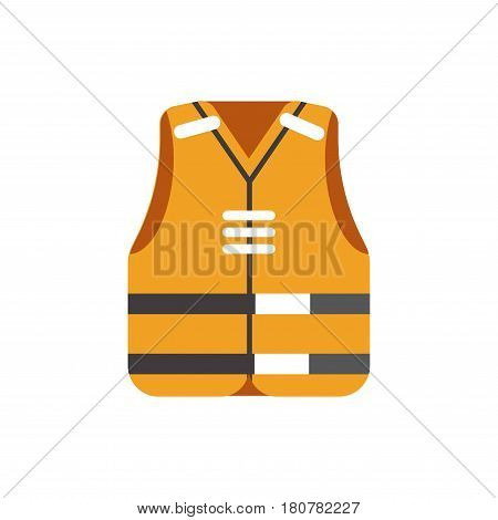 Safety orange vest with special white and black stripes isolated on white vector in flat design. Piece of clothes for upper part of body that protects people from sinking. Protective cloth uniform