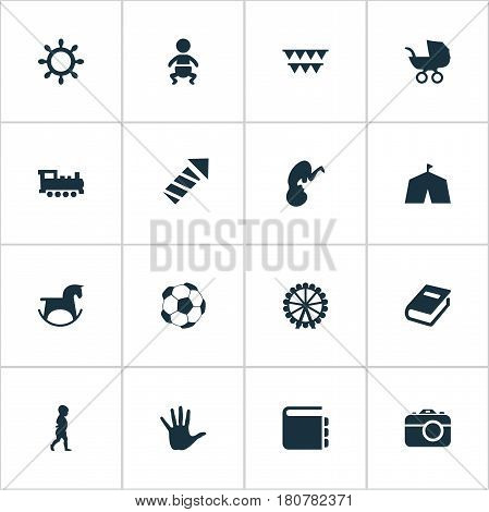 Vector Illustration Set Of Simple Kid Icons. Elements Stroller, Rudder, Soccer And Other Synonyms Horse, Circus And Festival.