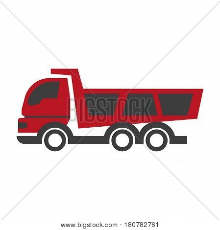 Haul or dump truck logo in black and red colors icon. Dumper and tipper symbol in flat style design. Mining and construction machinery, industrial lorry for material transportation vector illustration
