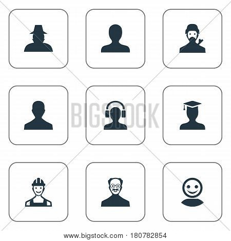 Vector Illustration Set Of Simple Human Icons. Elements Internet Profile, Mysterious Man, Male User And Other Synonyms Web, Profile And Detective.