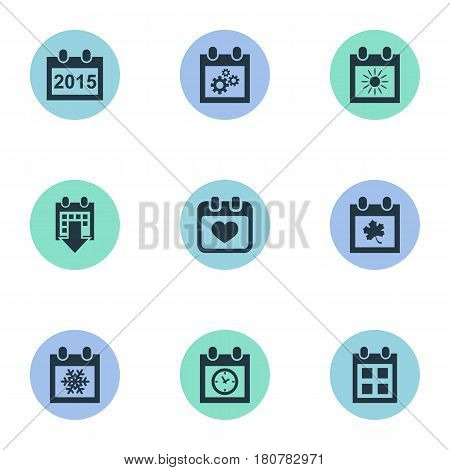 Vector Illustration Set Of Simple Plan Icons. Elements Planner, History, Snowflake And Other Synonyms Agenda, Summer And Leaf.
