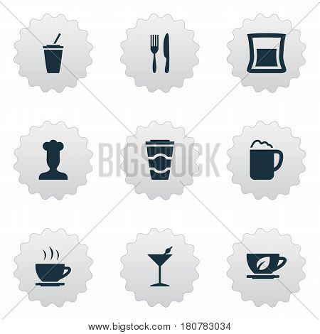 Vector Illustration Set Of Simple Beverage Icons. Elements Gastronomy, Pub, Fork With Knife And Other Synonyms Drink, Martini And Pub.