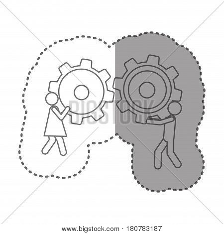 sticker silhouette pictogram man and woman holding a pinions vector illustration