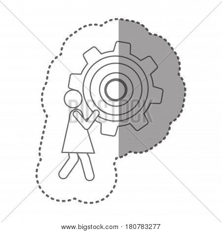 sticker silhouette pictogram woman holding a pinion vector illustration