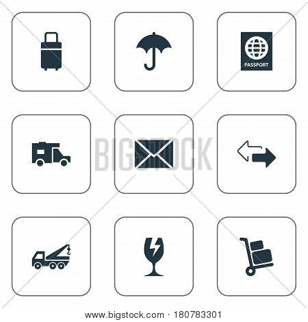 Vector Illustration Set Of Simple Carting Icons. Elements Luggage Bearer, Passport, Trip Luggage And Other Synonyms Shipping, Travel And Caravan.