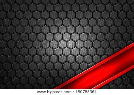 Red Banner On Gray Carbon Fiber Hexagon.