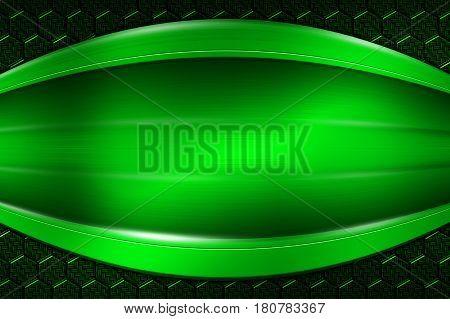 Green Banner On Green Carbon Fiber Hexagon.