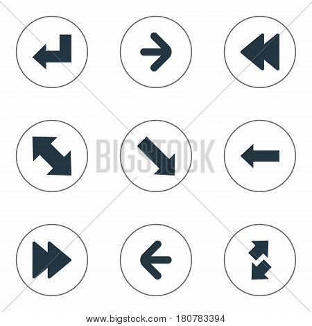 Vector Illustration Set Of Simple Arrows Icons. Elements Raise-Fall, Slanted Arrow, Left Indication And Other Synonyms Down Right Pointing, Left And Forward.