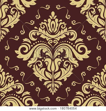 Damask vector classic pattern. Seamless abstract background with repeating elements. Orient brown and golden background