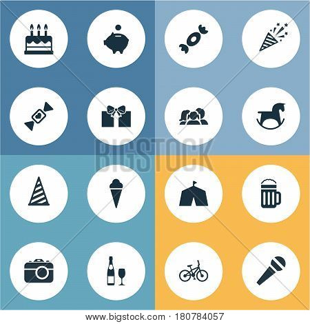 Vector Illustration Set Of Simple Birthday Icons. Elements Caramel, Cap , Candy Synonyms Circus, Camera And Cap.