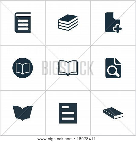 Vector Illustration Set Of Simple Books Icons. Elements Opened Book, Pile, Tasklist And Other Synonyms Plus, Note And Blank.