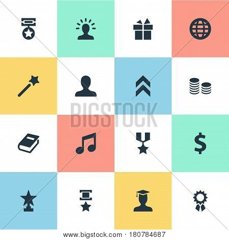 Vector Illustration Set Of Simple Champion Icons. Elements Honor, Currency, Money And Other Synonyms Currency, Champion And Triumphant.