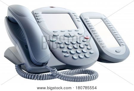 Digital telephone set with expansion button isolated on the white