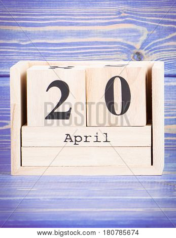 April 20Th. Date Of 20 April On Wooden Cube Calendar