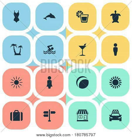 Vector Illustration Set Of Simple Seaside Icons. Elements Cocktail, Crossroad, Tortoise And Other Synonyms Madame, Aquatic And House.