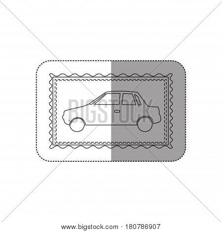 sticker contour frame of automobile icon vector illustration