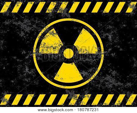 Warning sign. Radiation background radiation. Vector illustrator