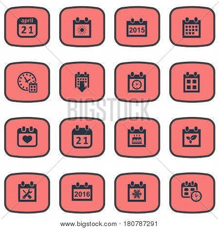 Vector Illustration Set Of Simple Calendar Icons. Elements Date, Date Block, History And Other Synonyms Calendar, History And Data.
