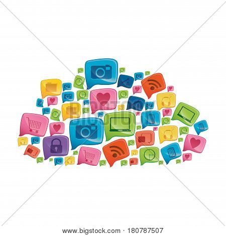 colorful pattern cloud shape formed by callout social icons vector illustration
