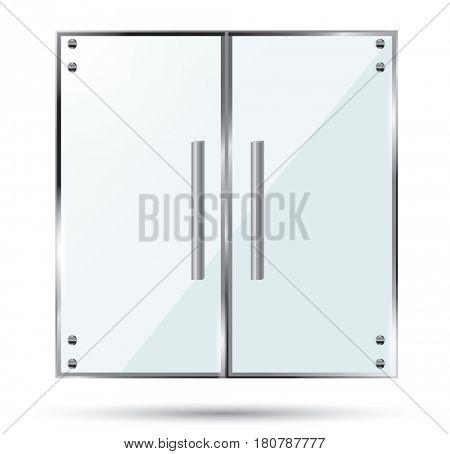 Glass Doors on Transparent Background.
