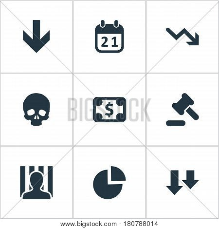 Vector Illustration Set Of Simple Crisis Icons. Elements Penitentiary, Bankroll, Down Cursor And Other Synonyms Chart, Law And Money.