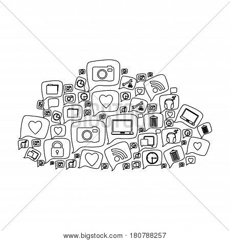silhouette pattern cloud shape formed by callout social icons vector illustration
