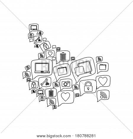 silhouette pattern abstract shape formed by callout social icons vector illustration