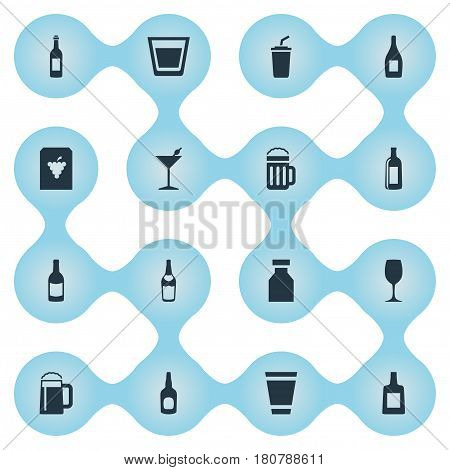 Vector Illustration Set Of Simple Drinks Icons. Elements Vial, Liquor, Brandy Synonyms Water, Plastic And Vine.