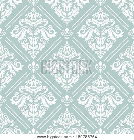 Damask vector classic pattern. Seamless abstract light blue and white background with repeating elements. Orient background