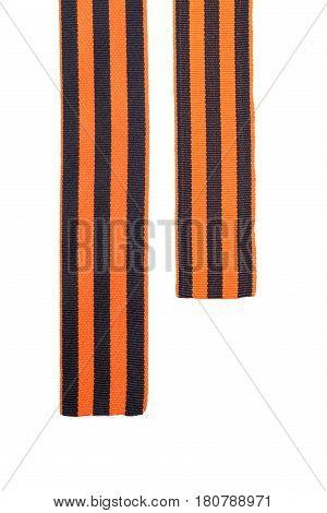 St. George's Ribbon two ends of orange black on a white isolated background